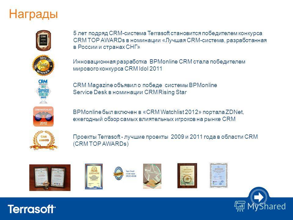 Награды Проекты Terrasoft - лучшие проекты 2009 и 2011 года в области CRM (CRM TOP AWARDs) Инновационная разработка BPMonline CRM стала победителем мирового конкурса CRM Idol 2011 CRM Magazine объявил о победе системы BPMonline Service Desk в номинац