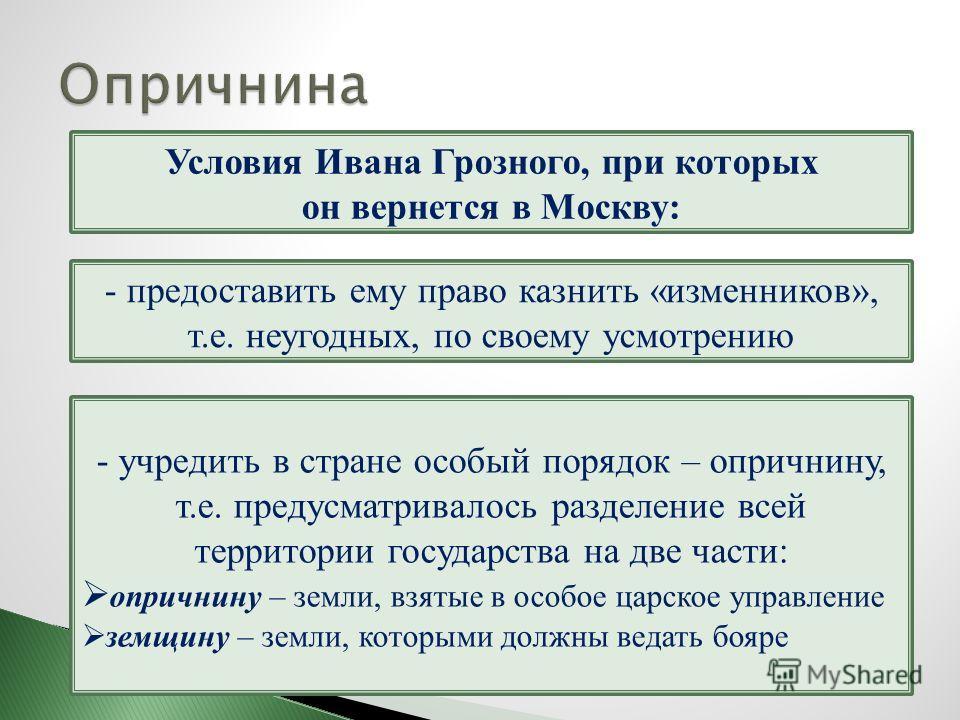 Условия Ивана Грозного, при которых он вернется в Москву: - учредить в стране особый порядок – опричнину, т.е. предусматривалось разделение всей территории государства на две части: опричнину – земли, взятые в особое царское управление земщину – земл