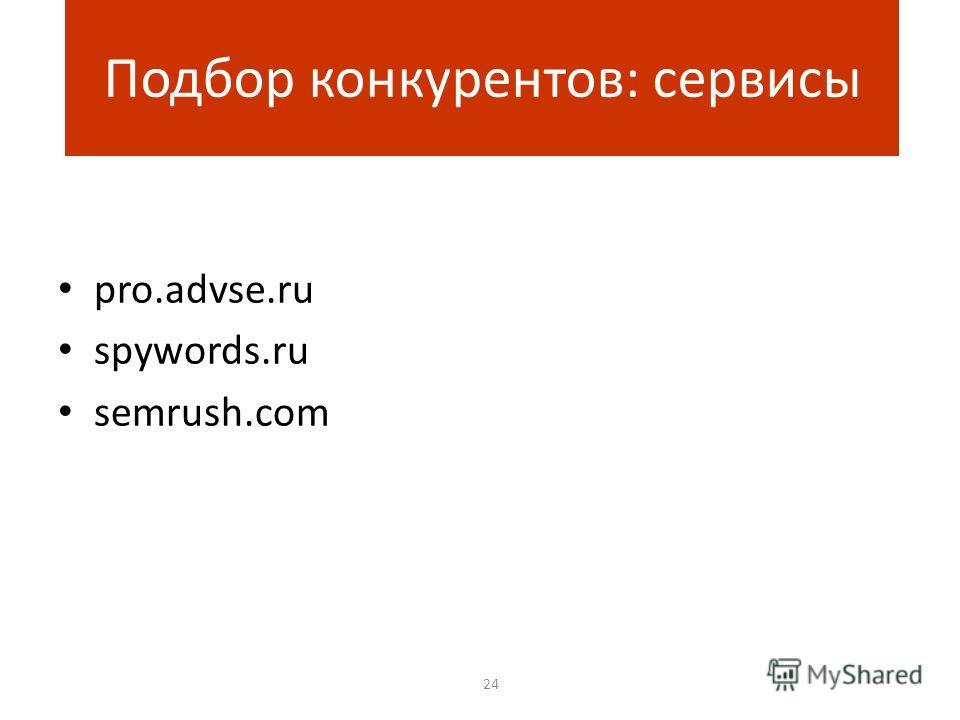 pro.advse.ru spywords.ru semrush.com 24 Подбор конкурентов: сервисы