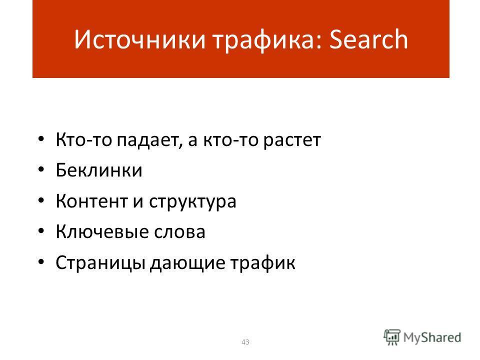 Кто-то падает, а кто-то растет Беклинки Контент и структура Ключевые слова Страницы дающие трафик 43 Источники трафика: Search
