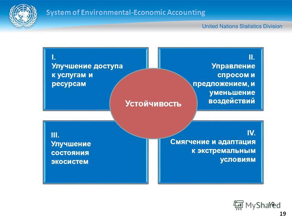 System of Environmental-Economic Accounting 19 Устойчивость I. Улучшение доступа к услугам и ресурсам II. Управление спросом и предложением, и уменьшение воздействий III. Улучшение состояния экосистем IV. Смягчение и адаптация к экстремальным условия