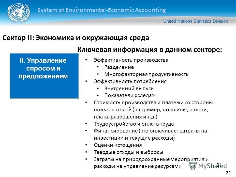 System of Environmental-Economic Accounting 21 Сектор II: Экономика и окружающая среда Эффективность производства Разделение Многофакторная продуктивность Эффективность потребления Внутренний выпуск Показатели «следа» Стоимость производства и платежи