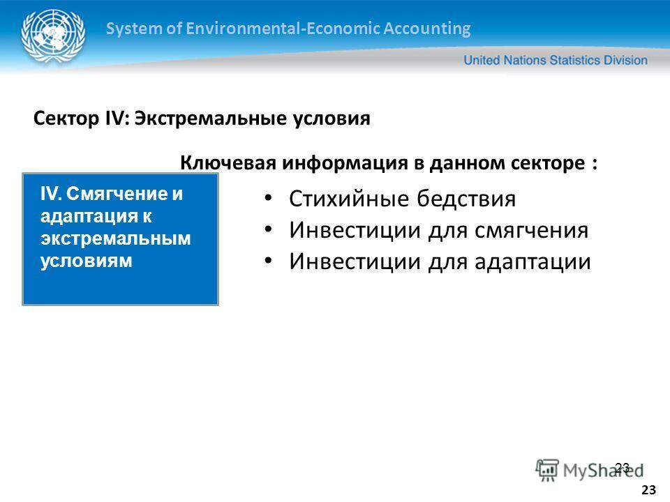 System of Environmental-Economic Accounting 23 Сектор IV: Экстремальные условия Стихийные бедствия Инвестиции для смягчения Инвестиции для адаптации IV. Смягчение и адаптация к экстремальным условиям Ключевая информация в данном секторе :