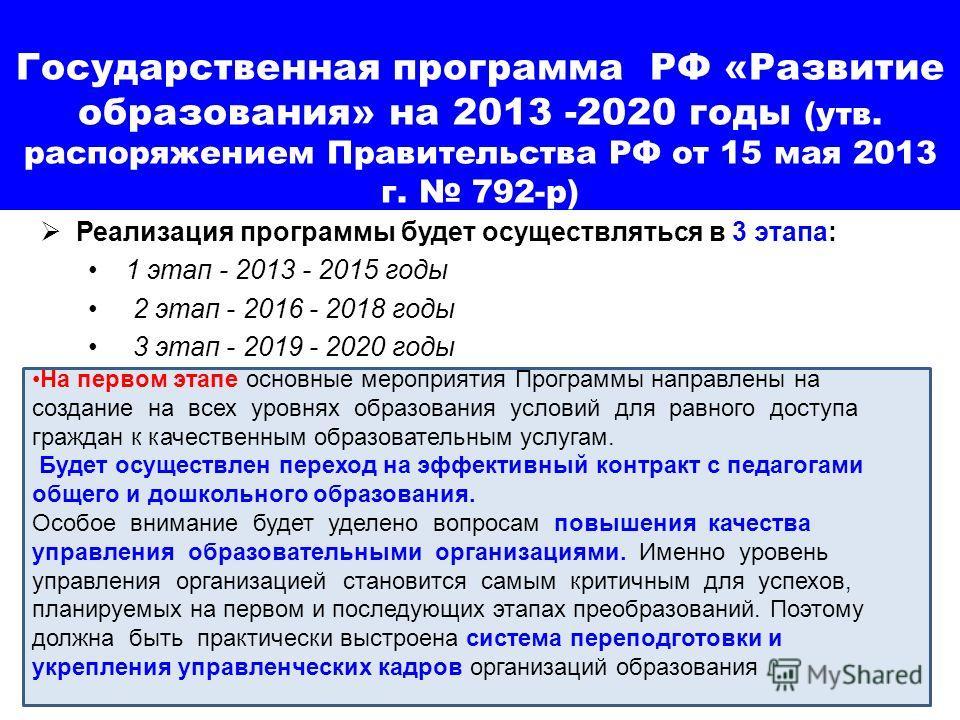 Государственная программа РФ «Развитие образования» на 2013 -2020 годы (утв. распоряжением Правительства РФ от 15 мая 2013 г. 792-р) Реализация программы будет осуществляться в 3 этапа: 1 этап - 2013 - 2015 годы 2 этап - 2016 - 2018 годы 3 этап - 201