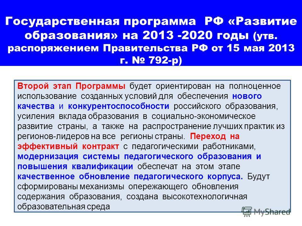 Государственная программа РФ «Развитие образования» на 2013 -2020 годы (утв. распоряжением Правительства РФ от 15 мая 2013 г. 792-р) Второй этап Программы будет ориентирован на полноценное использование созданных условий для обеспечения нового качест