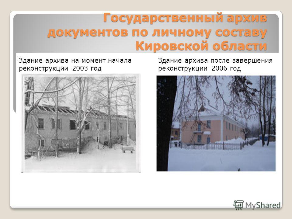 Государственный архив документов по личному составу Кировской области Здание архива на момент начала реконструкции 2003 год Здание архива после завершения реконструкции 2006 год