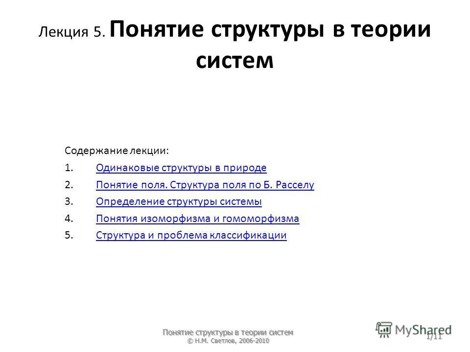 Лекция 5. Понятие структуры в теории систем Содержание лекции: 1. Одинаковые структуры в природе Одинаковые структуры в природе 2. Понятие поля. Структура поля по Б. Расселу Понятие поля. Структура поля по Б. Расселу 3. Определение структуры системы