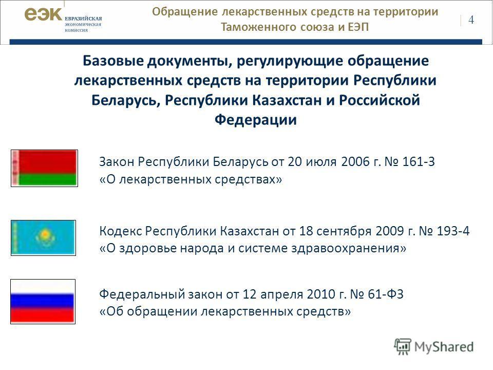 Закон Республики Беларусь от 20 июля 2006 г. 161-З «О лекарственных средствах» Кодекс Республики Казахстан от 18 сентября 2009 г. 193-4 «О здоровье народа и системе здравоохранения» Федеральный закон от 12 апреля 2010 г. 61-ФЗ «Об обращении лекарстве