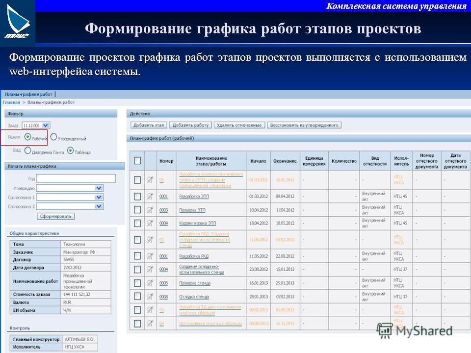 Комплексная система управления Формирование графика работ этапов проектов Формирование проектов графика работ этапов проектов выполняется с использованием web-интерфейса системы.