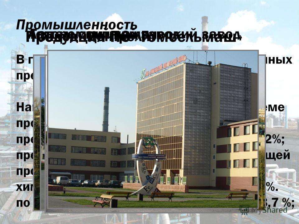 Промышленность В городе насчитывается 126 промышленных предприятий. Наибольший удельный вес в общем объёме производства продукции формируют: предприятия машиностроения (52) 51,2%; предприятия пищевой и перерабатывающей промышленности (17) 17,8 %; хим
