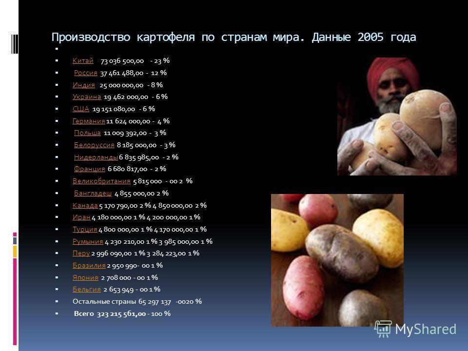 Производство картофеля по странам мира. Данные 2005 года Китай 73 036 500,00 - 23 % Китай Россия 37 461 488,00 - 12 %Россия Индия 25 000 000,00 - 8 % Индия Украина 19 462 000,00 - 6 % Украина США 19 151 080,00 - 6 % США Германия 11 624 000,00 - 4 % Г