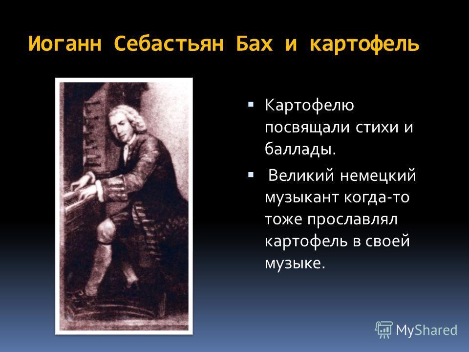Иоганн Себастьян Бах и картофель Картофелю посвящали стихи и баллады. Великий немецкий музыкант когда-то тоже прославлял картофель в своей музыке.