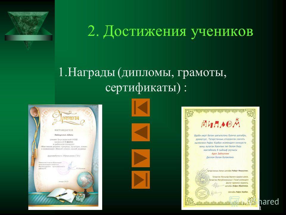 30 2. Достижения учеников 1. Награды (дипломы, грамоты, сертификаты) :