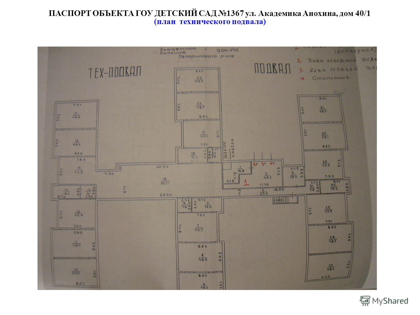 ПАСПОРТ ОБЪЕКТА ГОУ ДЕТСКИЙ САД 1367 ул. Академика Анохина, дом 40/1 (план технического подвала)