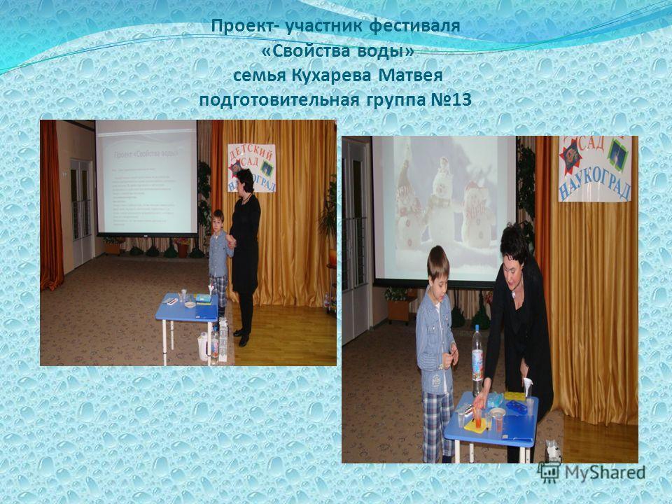 Проект- участник фестиваля «Свойства воды» семья Кухарева Матвея подготовительная группа 13
