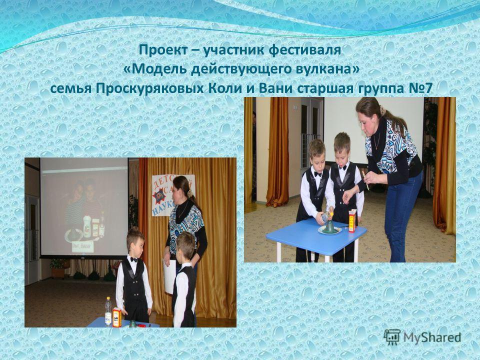 Проект – участник фестиваля «Модель действующего вулкана» семья Проскуряковых Коли и Вани старшая группа 7