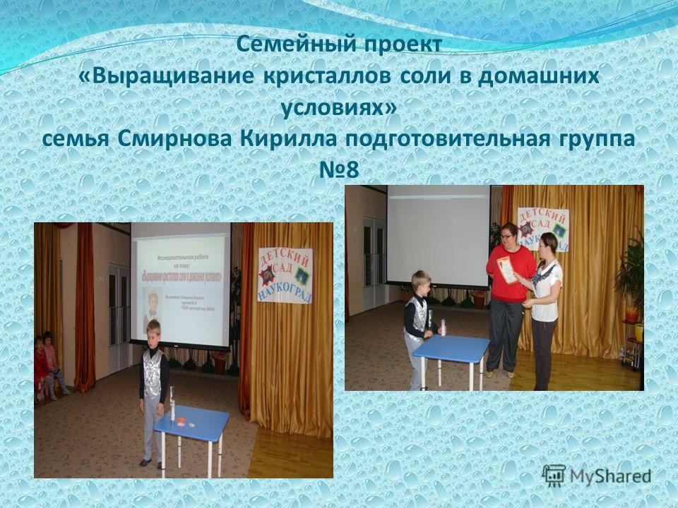 Семейный проект «Выращивание кристаллов соли в домашних условиях» семья Смирнова Кирилла подготовительная группа 8
