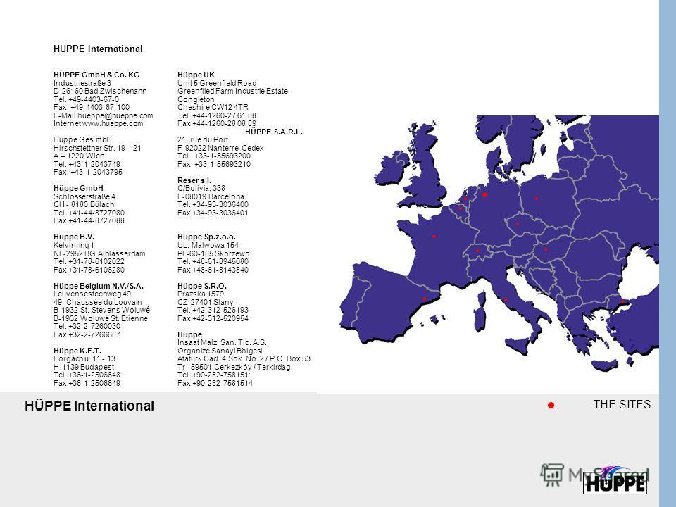 HÜPPE GmbH & Co. KG Industriestraße 3 D-26160 Bad Zwischenahn Tel. +49-4403-67-0 Fax +49-4403-67-100 E-Mail hueppe@hueppe.com Internet www.hueppe.com Hüppe Ges.mbH Hirschstettner Str. 19 – 21 A – 1220 Wien Tel. +43-1-2043749 Fax. +43-1-2043795 Hüppe
