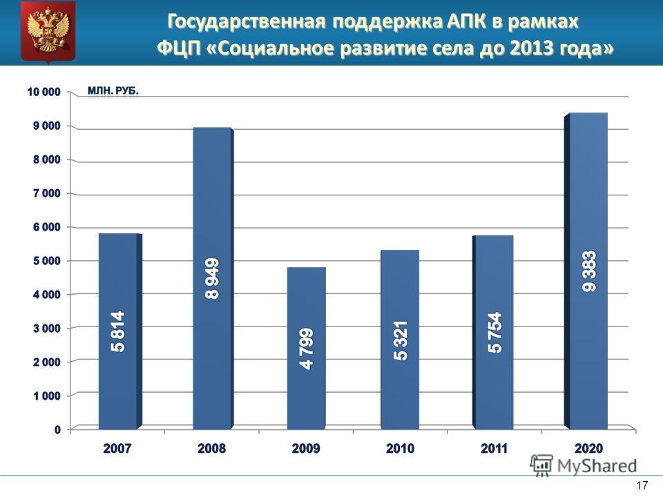 Государственная поддержка АПК в рамках ФЦП «Социальное развитие села до 2013 года» 17