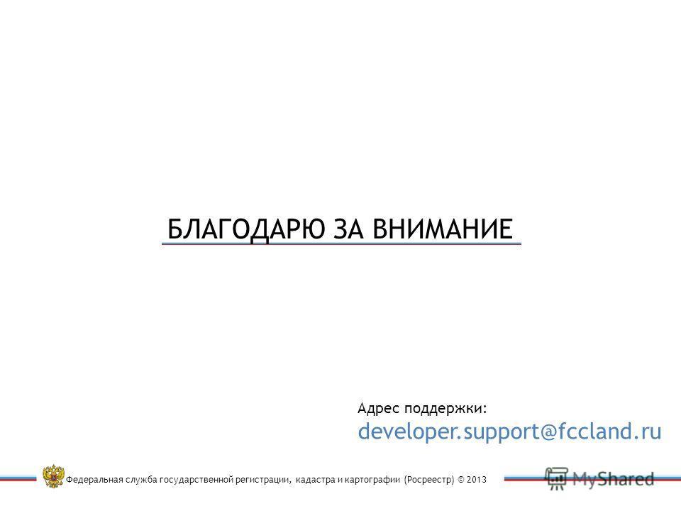Федеральная служба государственной регистрации, кадастра и картографии (Росреестр) © 2013 Адрес поддержки: developer.support@fccland.ru БЛАГОДАРЮ ЗА ВНИМАНИЕ