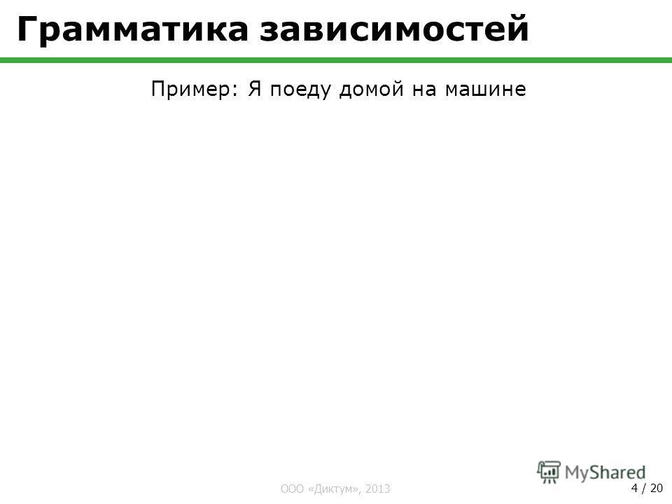 ООО «Диктум», 2013 4 / 20 Грамматика зависимостей Пример: Я поеду домой на машине