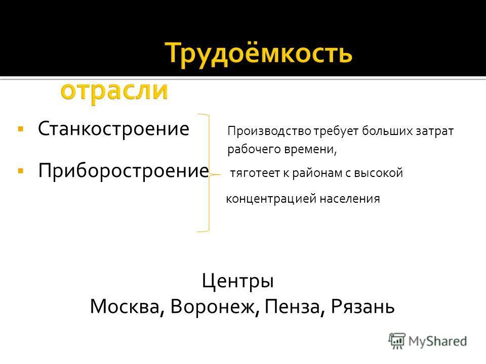 Станкостроение Производство требует больших затрат рабочего времени, Приборостроение тяготеет к районам с высокой концентрацией населения Центры Москва, Воронеж, Пенза, Рязань