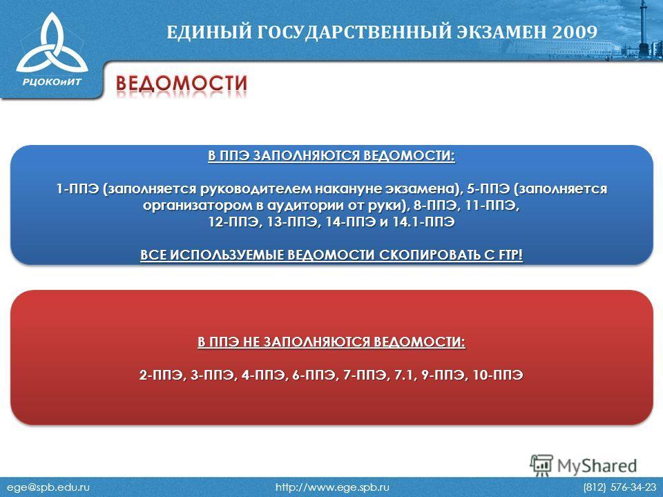 ege@spb.edu.ru http://www.ege.spb.ru (812) 576-34-23 В ППЭ ЗАПОЛНЯЮТСЯ ВЕДОМОСТИ: 1-ППЭ (заполняется руководителем накануне экзамена), 5-ППЭ (заполняется организатором в аудитории от руки), 8-ППЭ, 11-ППЭ, 12-ППЭ, 13-ППЭ, 14-ППЭ и 14.1-ППЭ ВСЕ ИСПОЛЬЗ