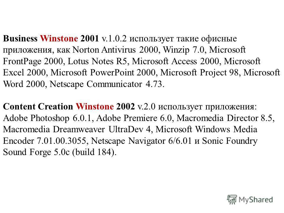 Business Winstone 2001 v.1.0.2 использует такие офисные приложения, как Norton Antivirus 2000, Winzip 7.0, Microsoft FrontPage 2000, Lotus Notes R5, Microsoft Access 2000, Microsoft Excel 2000, Microsoft PowerPoint 2000, Microsoft Project 98, Microso