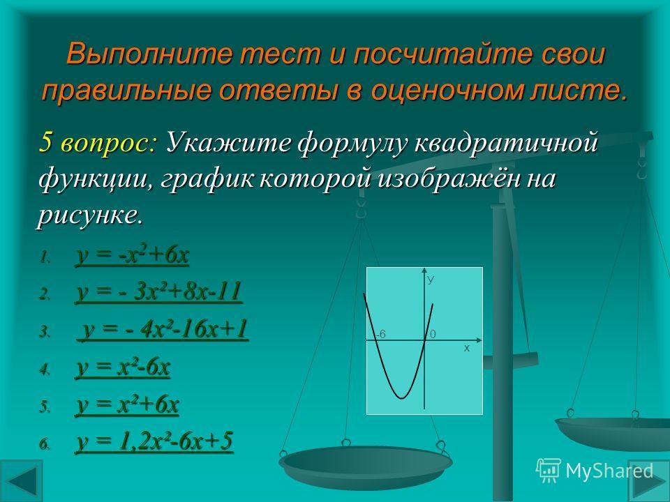 Выполните тест и посчитайте свои правильные ответы в оценочном листе. 4 вопрос: На рисунке показаны графики квадратичных функций. Выберите график функции у= - 4 х²-16 х+1, подведите к нему стрелку и нажмите левую кнопку мыши. у 0 6 х У -6 0 х У -6 0