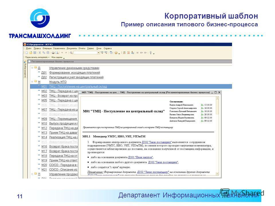 ………………………………….. Корпоративный шаблон Пример описания типового бизнес-процесса Департамент Информационных Технологий 11