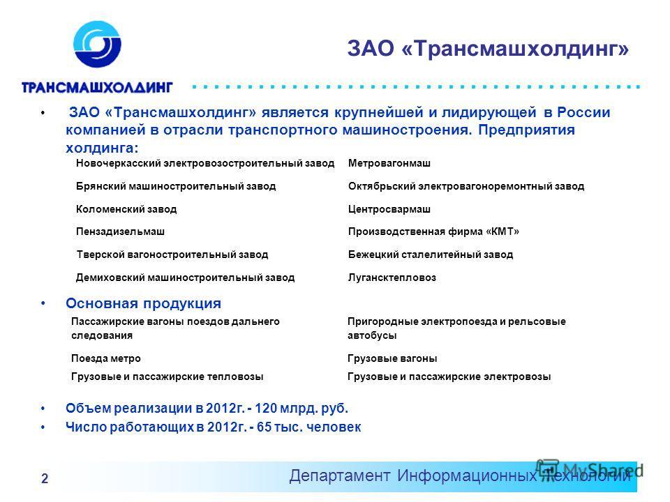 ………………………………….. Департамент Информационных Технологий 2 ЗАО «Трансмашхолдинг» ЗАО «Трансмашхолдинг» является крупнейшей и лидирующей в России компанией в отрасли транспортного машиностроения. Предприятия холдинга: Основная продукция Объем реализации