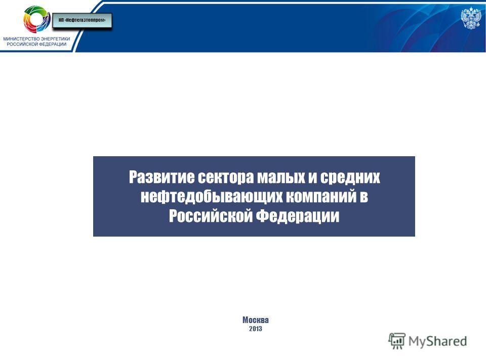 Развитие сектора малых и средних нефтедобывающих компаний в Российской Федерации Москва 2013 НП «Нефтегазтоппром»