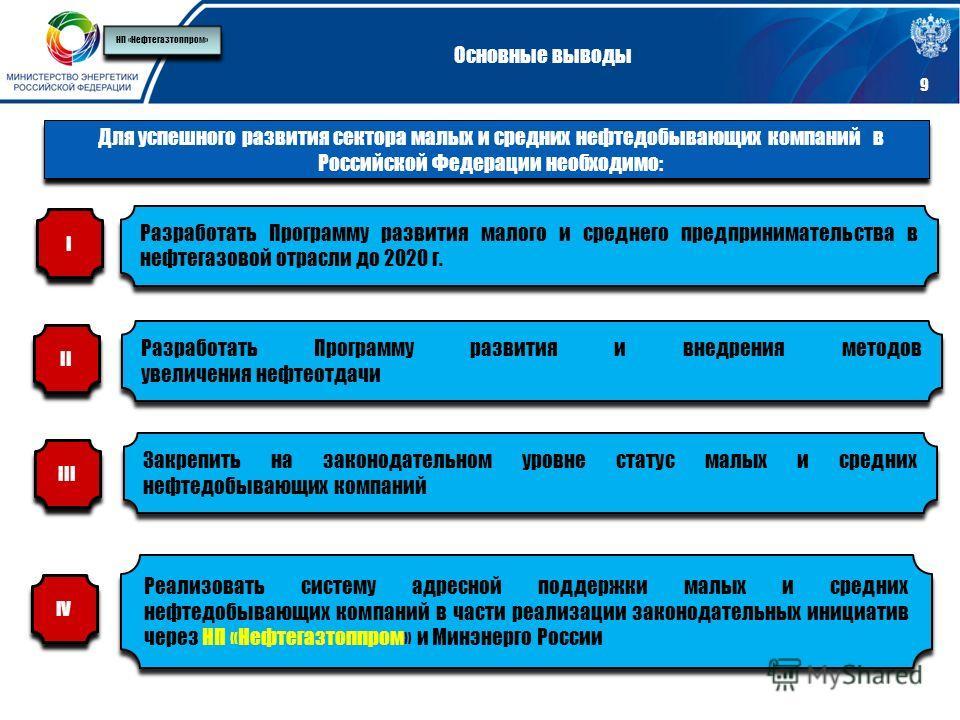 9 Основные выводы Для успешного развития сектора малых и средних нефтедобывающих компаний в Российской Федерации необходимо: Разработать Программу развития малого и среднего предпринимательства в нефтегазовой отрасли до 2020 г. Разработать Программу