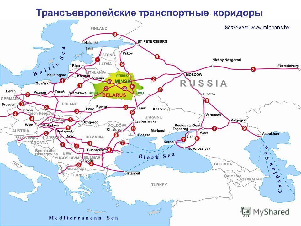Трансевропейские транспортные коридоры Трансъевропейские транспортные коридоры Источник: www.mintrans.by