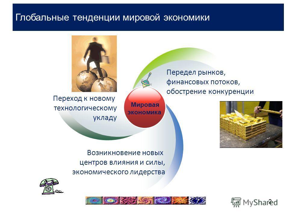 2 Мировая экономика Переход к новому технологическому укладу Передел рынков, финансовых потоков, обострение конкуренции Возникновение новых центров влияния и силы, экономического лидерства Глобальные тенденции мировой экономики