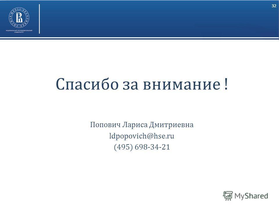 32 Спасибо за внимание ! Попович Лариса Дмитриевна ldpopovich@hse.ru (495) 698-34-21