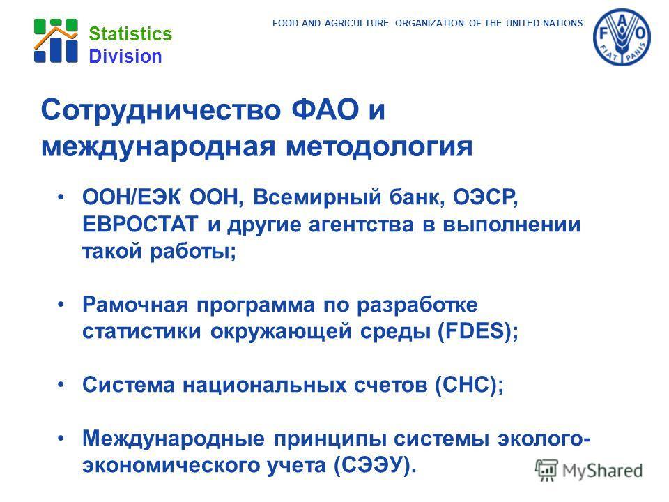 FOOD AND AGRICULTURE ORGANIZATION OF THE UNITED NATIONS Statistics Division ООН/ЕЭК ООН, Всемирный банк, ОЭСР, ЕВРОСТАТ и другие агентства в выполнении такой работы; Рамочная программа по разработке статистики окружающей среды (FDES); Система национа