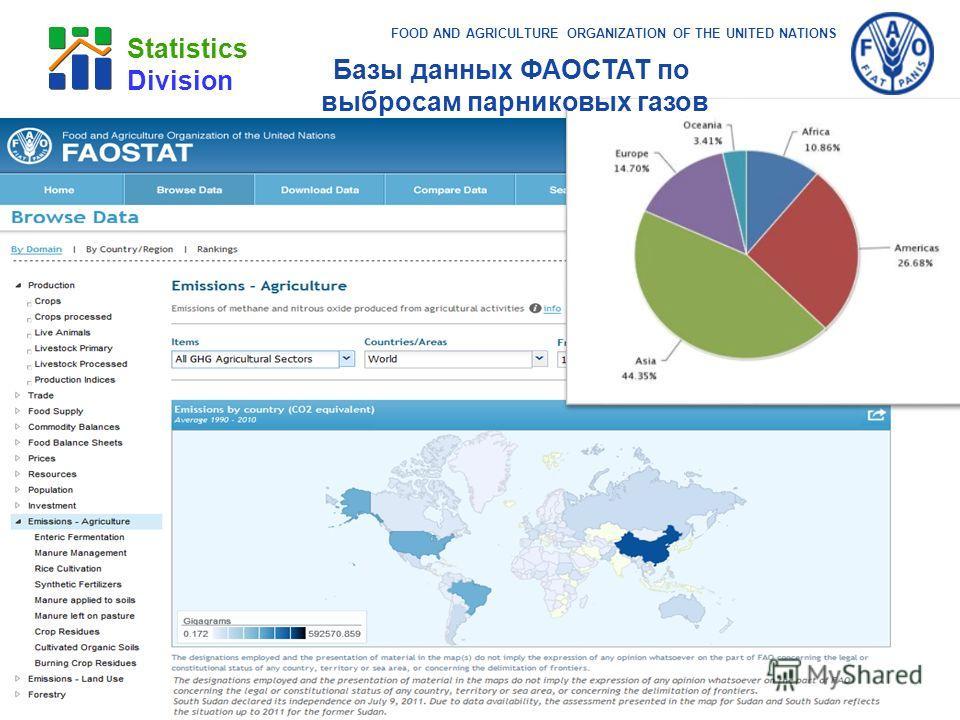 FOOD AND AGRICULTURE ORGANIZATION OF THE UNITED NATIONS Statistics Division Базы данных ФАОСТАТ по выбросам парниковых газов