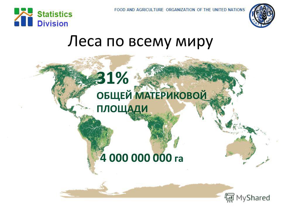 FOOD AND AGRICULTURE ORGANIZATION OF THE UNITED NATIONS Statistics Division 4 000 000 000 га 31% ОБЩЕЙ МАТЕРИКОВОЙ ПЛОЩАДИ Леса по всему миру