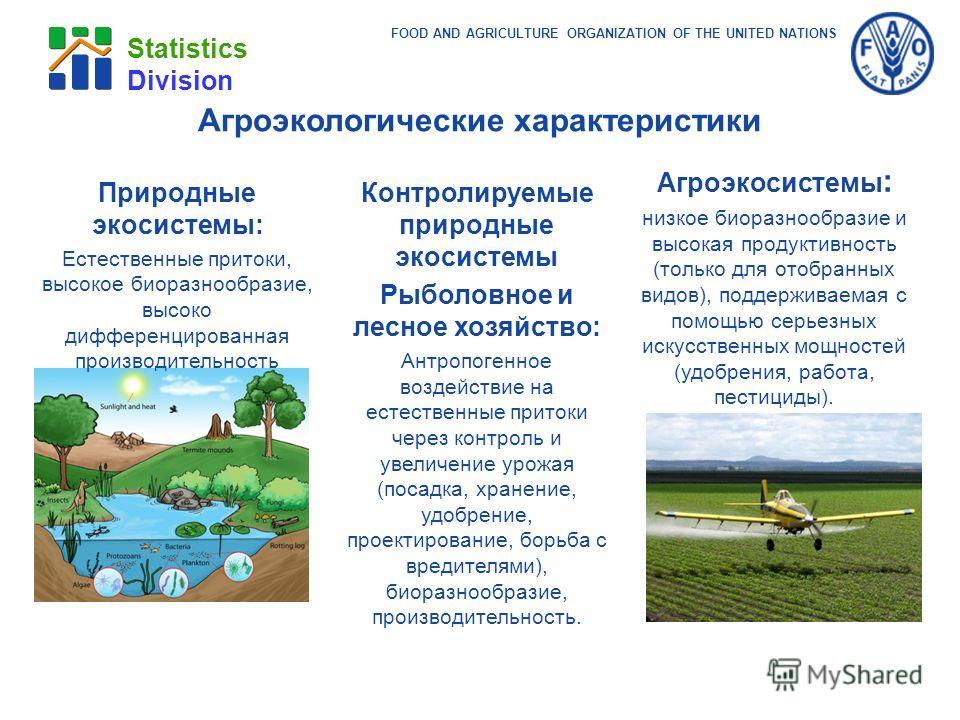 FOOD AND AGRICULTURE ORGANIZATION OF THE UNITED NATIONS Statistics Division Природные экосистемы: Естественные притоки, высокое биоразнообразие, высоко дифференцированная производительность Агроэкосистемы : низкое биоразнообразие и высокая продуктивн