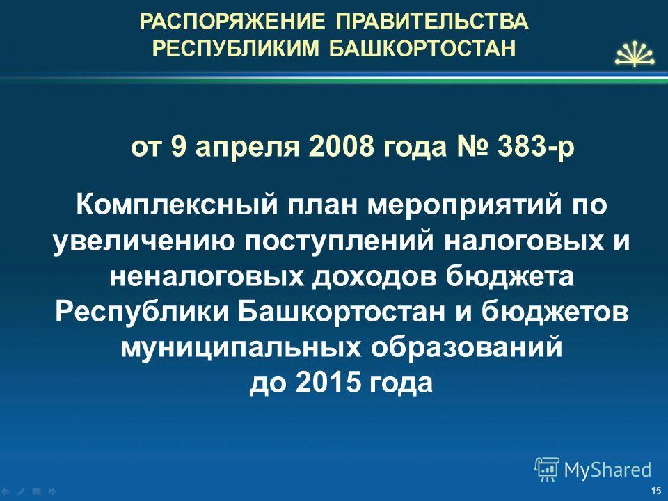 РАСПОРЯЖЕНИЕ ПРАВИТЕЛЬСТВА РЕСПУБЛИКИМ БАШКОРТОСТАН от 9 апреля 2008 года 383-р Комплексный план мероприятий по увеличению поступлений налоговых и неналоговых доходов бюджета Республики Башкортостан и бюджетов муниципальных образований до 2015 года 1