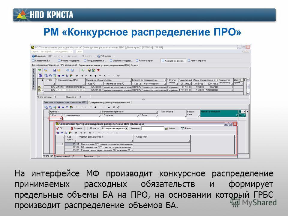 РМ «Конкурсное распределение ПРО» На интерфейсе МФ производит конкурсное распределение принимаемых расходных обязательств и формирует предельные объемы БА на ПРО, на основании который ГРБС производит распределение объемов БА.