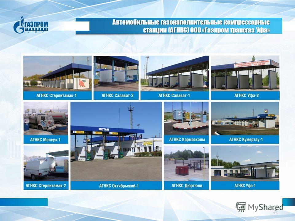 15 Автомобильные газонаполнительные компрессорные станции (АГНКС) ООО «Газпром трансгаз Уфа»