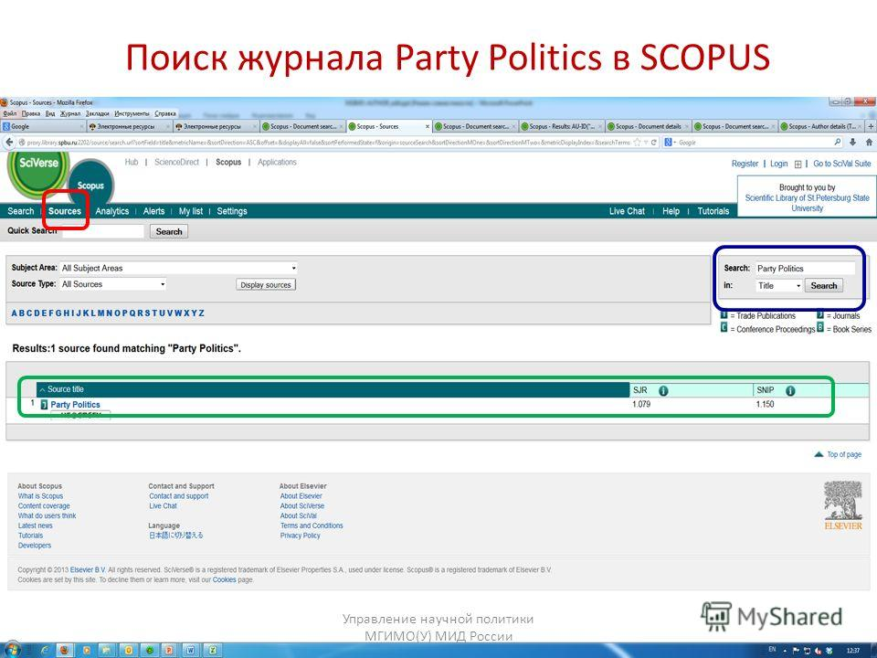 Поиск журнала Party Politics в SCOPUS Управление научной политики МГИМО(У) МИД России