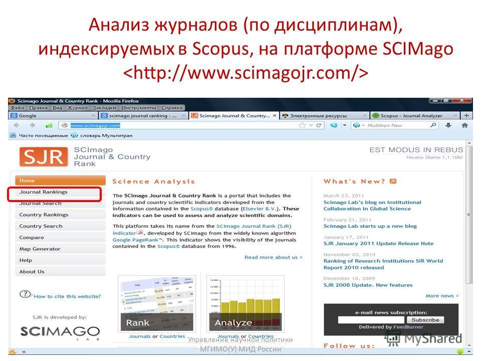 Анализ журналов (по дисциплинам), индексируемых в Scopus, на платформе SCIMago Управление научной политики МГИМО(У) МИД России