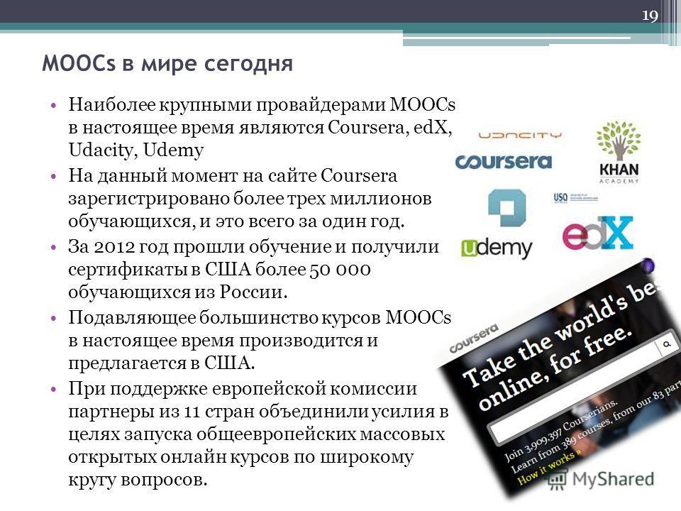 МООСs в мире сегодня Наиболее крупными провайдерами MOOCs в настоящее время являются Coursera, edX, Udacity, Udemy На данный момент на сайте Coursera зарегистрировано более трех миллионов обучающихся, и это всего за один год. За 2012 год прошли обуче