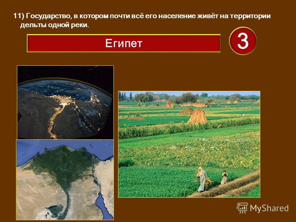 11) Государство, в котором почти всё его население живёт на территории дельты одной реки. 3 Египет