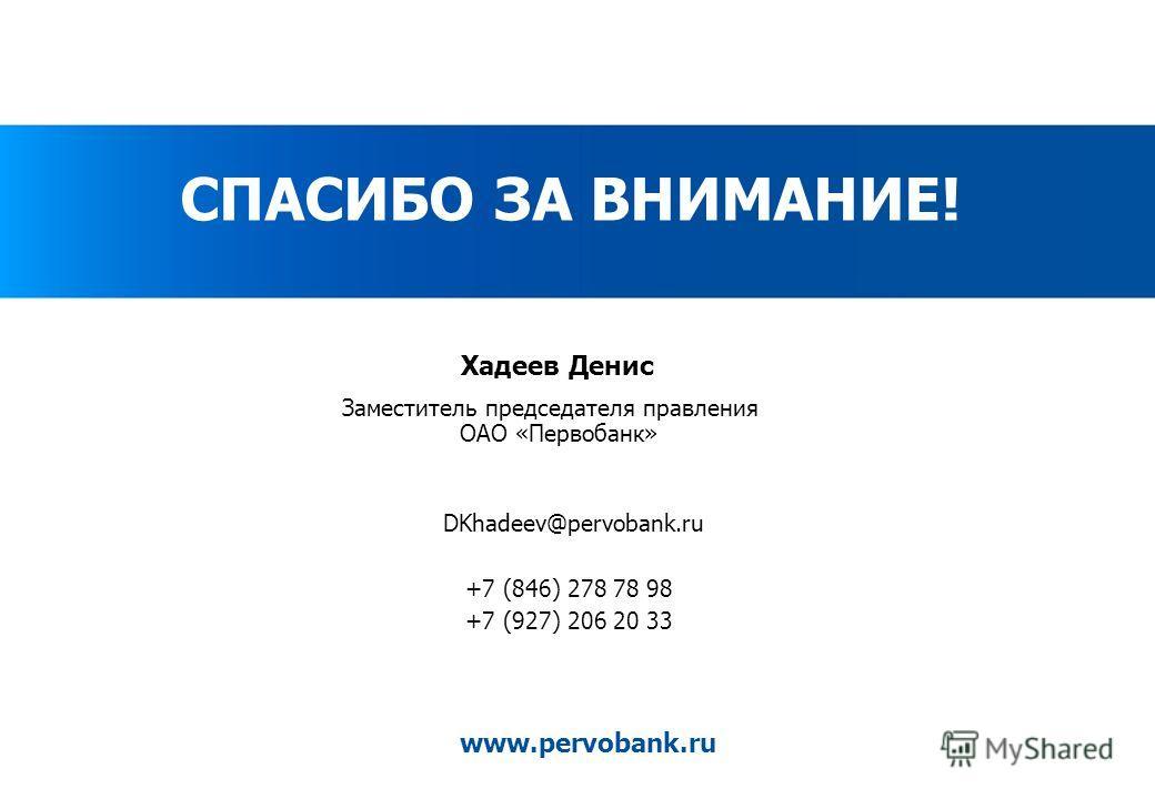 www.pervobank.ru Хадеев Денис Заместитель председателя правления ОАО «Первобанк» DKhadeev@pervobank.ru +7 (846) 278 78 98 +7 (927) 206 20 33 СПАСИБО ЗА ВНИМАНИЕ!