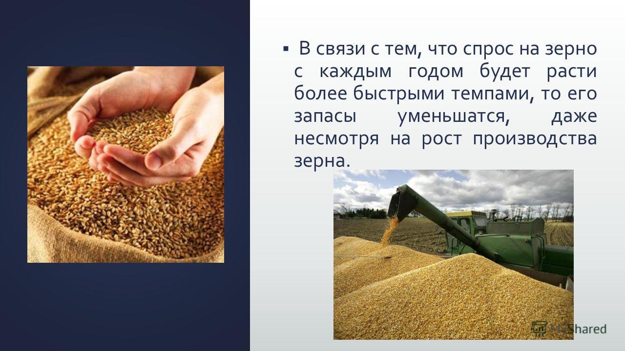 В связи с тем, что спрос на зерно с каждым годом будет расти более быстрыми темпами, то его запасы уменьшатся, даже несмотря на рост производства зерна.