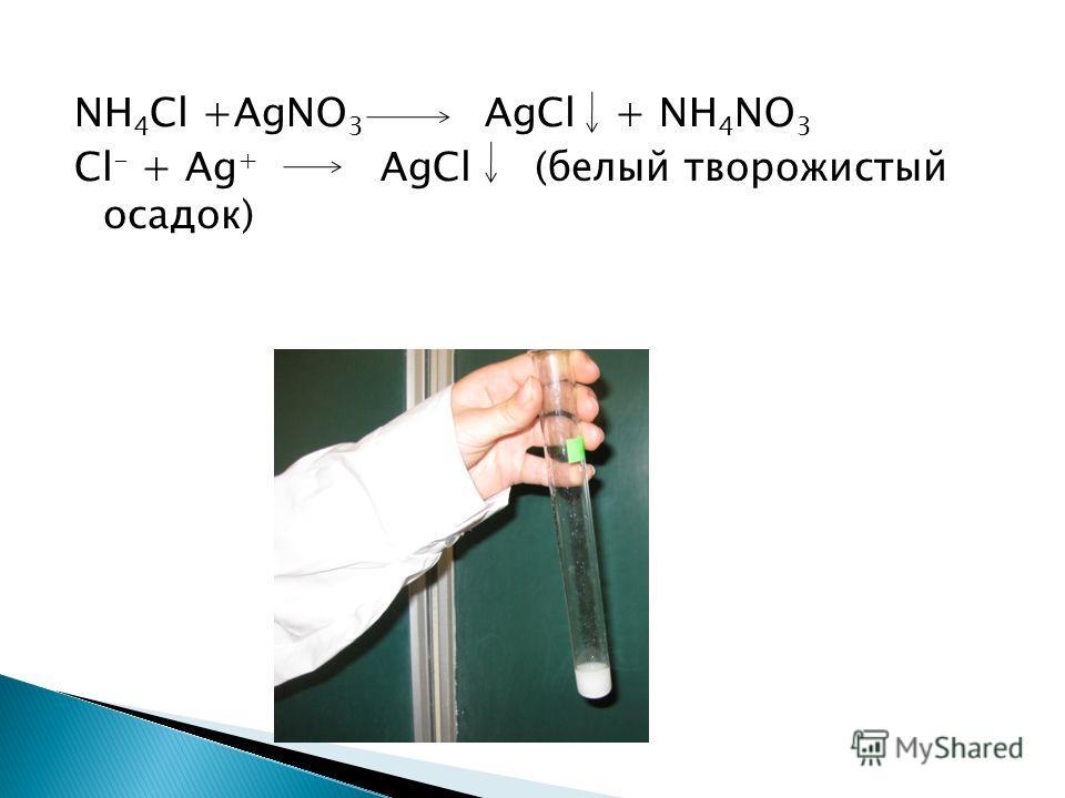 NH 4 Cl +AgNO 3 AgCl + NH 4 NO 3 Cl - + Ag + AgCl (белый творожистый осадок)